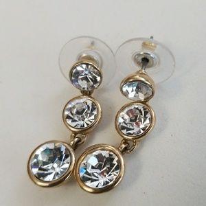 BRIGHT ! Designer DANGLE RHINESTONE earrings